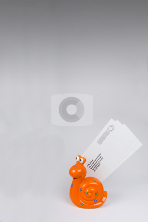 Snail Mail 2 stock photo, Orange snail carrying letters to destination. by Steve Smith