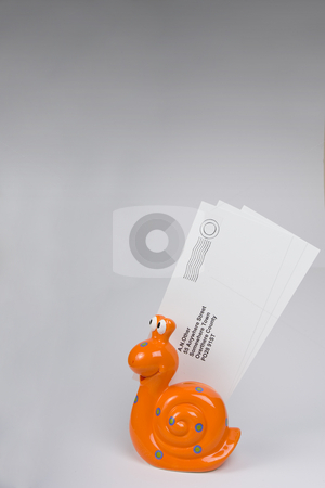 Snail Mail 3 stock photo, Orange snail carrying letters to destination. by Steve Smith