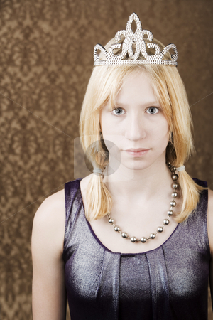 Pretty young girl with a tiara stock photo, Portrait of pretty young girl wearing a tiara by Scott Griessel