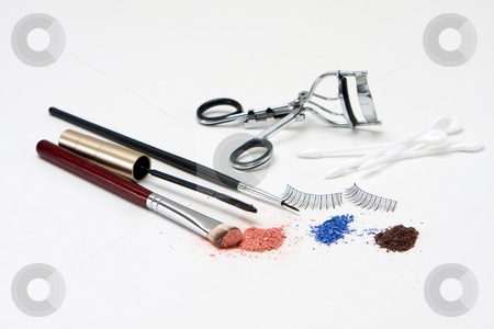 Eye makeup set stock photo, Makeup set for the eyes with eyeshadows, brush, mascara, curler, q-tips and lashes, isolated by Paul Hakimata