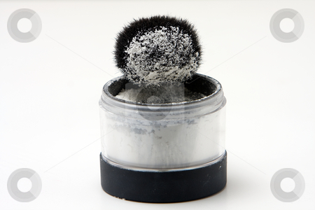 Brush with powder stock photo, Translucent white powder in a jar and on brush, isolated by Paul Hakimata