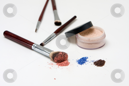 Eye makeup set stock photo, Makeup set for the eyes with eyeshadows and different brushes, isolated by Paul Hakimata