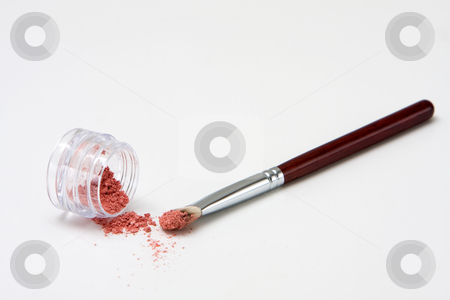 Brush with powder stock photo, Translucent pink powder in a jar and on brush, isolated by Paul Hakimata