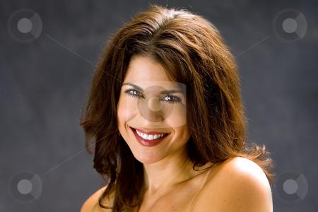 Beautiful face stock photo, Beautiful female face smiling, isolated by Paul Hakimata