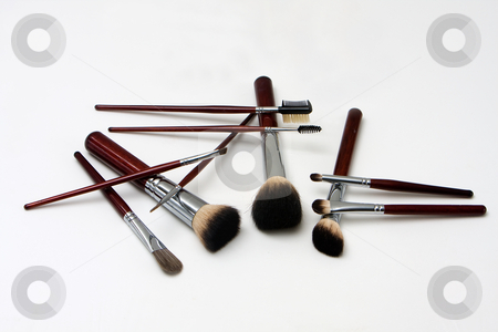 Makeup brushes stock photo, Brown makeup brushes for cheeks, eyes, lips and more, isolated by Paul Hakimata