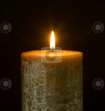 Candle stock photo, Candle on black background by Sinephot