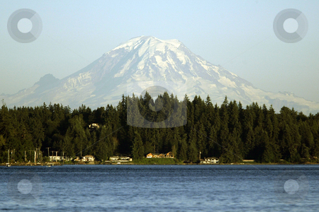 Mt. Rainier stock photo, July 17, 2003 : A snow topped  Mt. Rainier could be seen from the Illahee fishing pier. On a sunny day Illahee dock can offer some breath taking pictures in Bremerton, Washington. by Jesse Beals