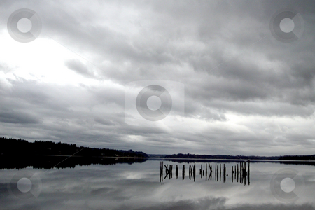 Wind storm over Puget Sound stock photo, September 10, 2003 :  The reflections of a harsh fall rain storm could be scene reflecting off Dyes Inlet in Silverdale, Washington as it passed through Kitsap County. by Jesse Beals