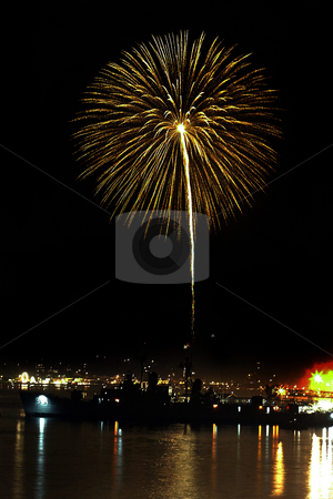 4rth of July stock photo, July 4, 2004 :  The skies lit up with bombs bursting in air from the Fathoms O Fun fire works show.  The fireworks could be seen bursting in the air above the USS Turner Joy in the Sinclair Inlet of Port Orchard, Washington. by Jesse Beals