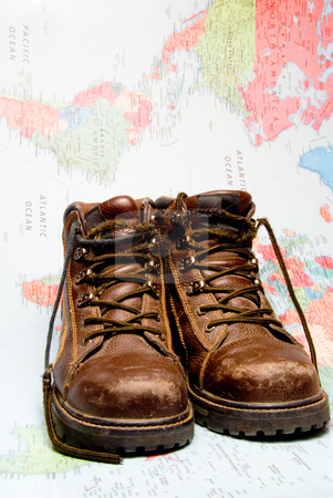 Traveling Shoes stock photo, The shoes of a world traveler ready for a trek. by Robert Byron