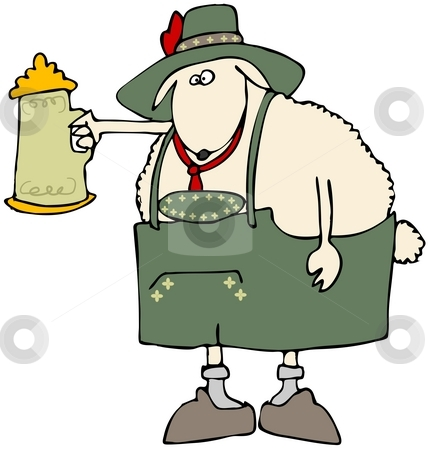 Oktoberfest Sheep stock photo, This illustration depicts a sheep dressed in traditional Bavarian attire and holding a beer stein. by Dennis Cox