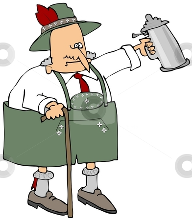 Old Bavarian stock photo, This illustration depicts an old man dressed in traditional Bavarian attire and holding a beer stein. by Dennis Cox