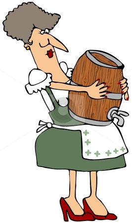 Woman Carrying A Wooden Keg stock photo, This illustration depicts a Bavarian woman carrying a wooden beer keg. by Dennis Cox