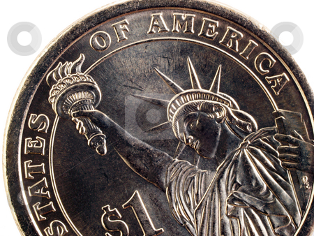 Closeup detail of US one dollar gold coin tail stock photo, US one dollar gold coin tails statue of liberty by Jeff Cleveland