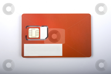 Blank Mobile Phone SIM Card stock photo, A blank mobile phone SIM card (Logo and details removed) on a graduated background with a drop shadow. by Steve Smith