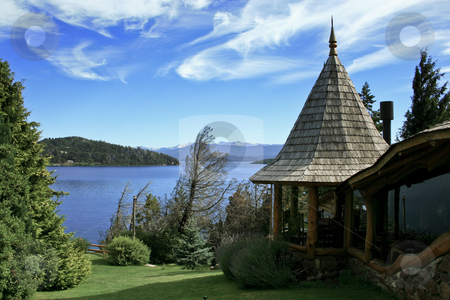 Cottage in Bariloche stock photo, Living in front of Nahuel Huapi Lake in Bariloche, Argentina by Rafael Franceschini