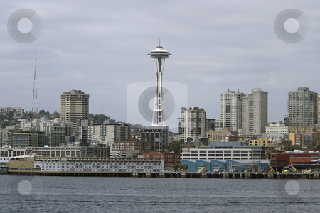 Seattle Washington stock photo, July 22, 2008:   The Seattle Space needles and Seattle Waterfront could be scene from the Walla Walla Washington State Ferry as it left Seattle and heading to Bremerton, Washington. by Jesse Beals