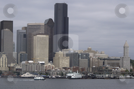 Seattle Washington stock photo, July 22, 2008:   The Seattle skyline and Ferry Terminal  could be scene from the Walla Walla Washington State Ferry as it left Seattle and heading to Bremerton, Washington. by Jesse Beals