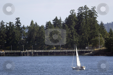 Sailing stock photo, July 22, 2008:   A small sailboat could be seen making it's way around Manchester park in Port Orchard, Washington and heading towards Seattle. by Jesse Beals