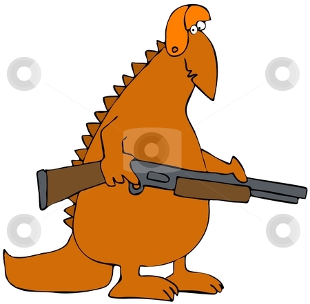 Dinosaur Hunter stock photo, This illustration depicts an orange dinosaur carrying a rifle. by Dennis Cox