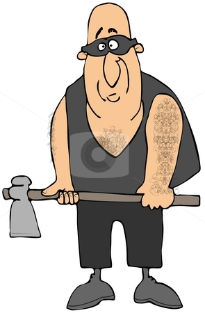 The Executioner stock photo, This illustration depicts a man dressed in a vest and mask and carrying an axe. by Dennis Cox
