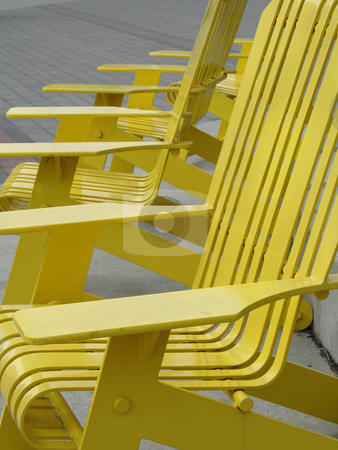 Yellow metal outdoor chair stock photo, Yellow metal outdoor chair by Mbudley Mbudley