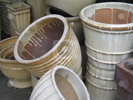 Ceramic hand made plant pots stock photo, Ceramic hand made plant pots by Mbudley Mbudley