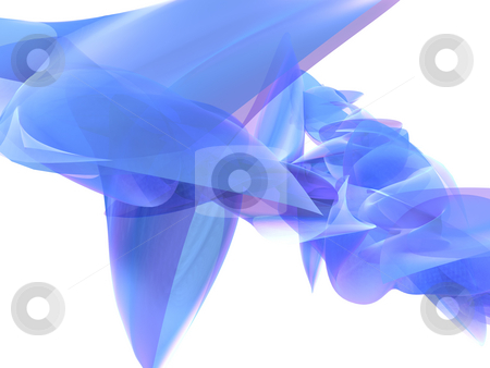 Abstract Blue Glass Background stock photo, An abstract 3D rendering of a semi-transparent object on a white background. by Gregory Dunn