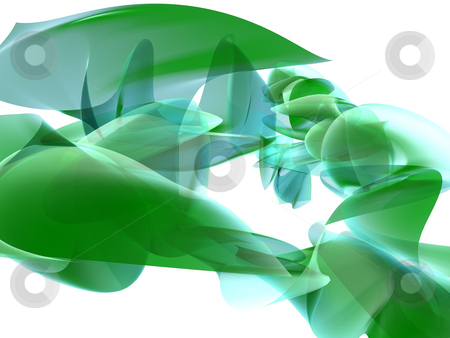 Abstract Green Glass Background stock photo, An abstract 3D rendering of a semi-transparent object on a white background. by Gregory Dunn