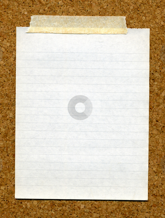 High resolution piece of writing paper stuck to a cork board. stock photo, High resolution piece of writing paper stuck to a cork board. by Stephen Rees