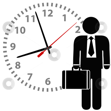 Business man stands in front of a time clock stock vector clipart, A business man symbol with briefcase stands in front of a time clock. by Michael Brown