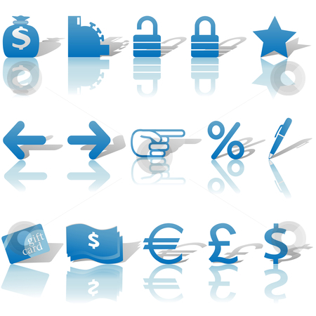 Finance Money Website Navigation Icons Reflections Shadows Set B stock vector clipart, A set of Finance, Money, and Website Navigation icons for internet business and communications, with reflections and shadows. by Michael Brown