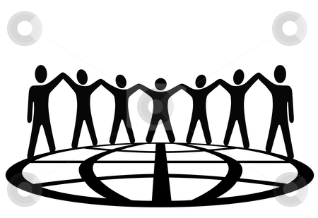 Global symbol people hold up arms around earth stock vector clipart, A global group of symbol people hold up their arms and hold hands around a globe in a spirit of togetherness. by Michael Brown