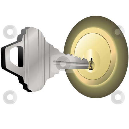 House Key to Unlock Brass Lock for Home Door stock vector clipart, A steel house key to unlock a brass lock and open the door of a home. by Michael Brown