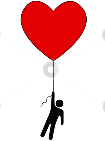 Love Lift Us Up_Heart Balloon and Person Symbol stock vector clipart, Love Lifts Us Up: a red heart balloon and person symbol on a string. by Michael Brown