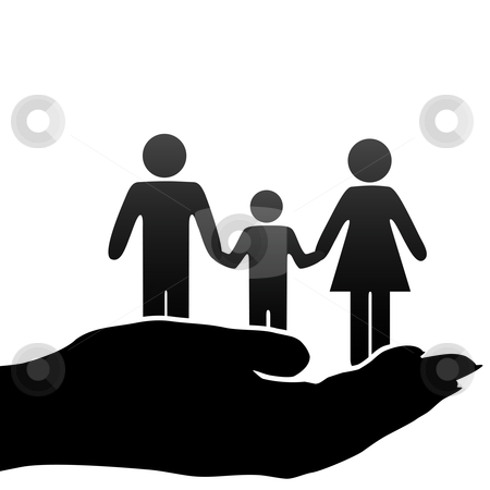 Mother father child family symbols in cupped hand stock vector clipart, A family of mother, father, child symbols are held in a cupped hand. by Michael Brown