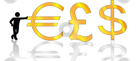 Person Symbol Leans on Shiny Gold Euro Pound Dollar Symbols stock vector clipart, A successful person leans on money pound, dollar, and euro symbols. Concepts: currency exchange and global business. by Michael Brown