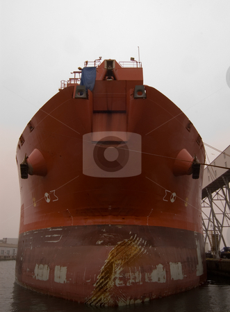 Bow Of Ship stock photo, Ship's Bow in Port by Will Burwell