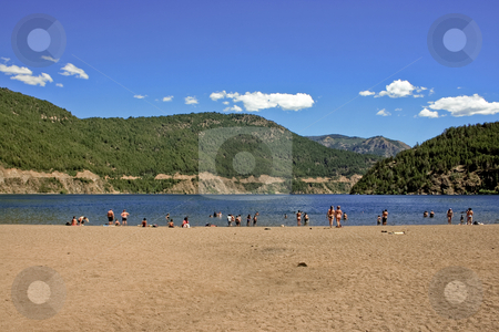 Lake beach stock photo, Lake, sand and mountains by Rafael Franceschini