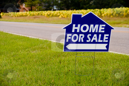 Home For Sale Sign stock photo, A sign advertising a home for sale. by Robert Byron