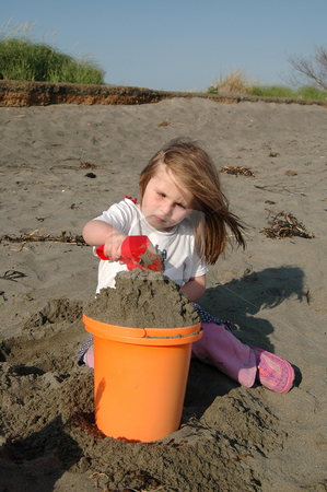 Concentration stock photo, She looks like she is concentrating real hard on putting the sand in this bucket, but she was also having a great time on the beach. This girl was playing on the beach near Ocean Shores, Wa. by Tim Thompson