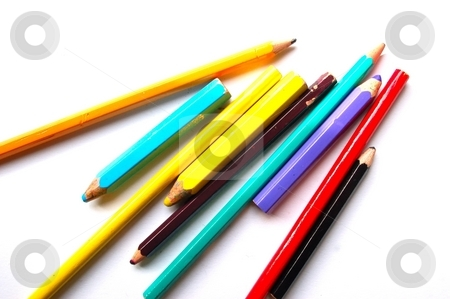 Colored pencils stock photo, Colourful pens by Lars Kastilan