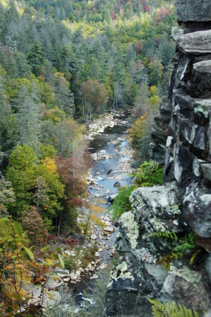 View in to valley stock photo, A view of the Linville Gorge area of North Carolina. Seen during the fall of the year by Tim Markley