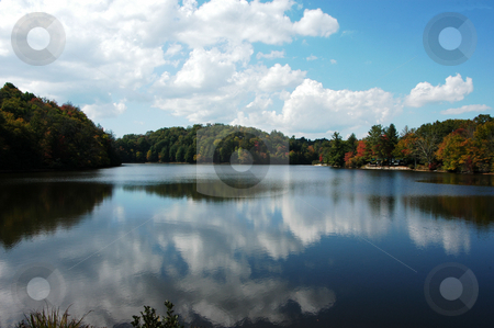 Fall at the lake stock photo, A rural North Carolina lake seen during the fall of year by Tim Markley