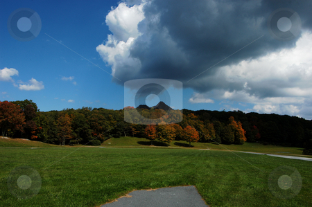 Storm moving in stock photo, A view of storm clouds moving in the ruin a fall day in North Carolina by Tim Markley