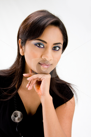 Beautiful Hindi woman stock photo, Face of a beautiful Hindi woman with subtle blue eye makeup and strong eyes, isolated by Paul Hakimata