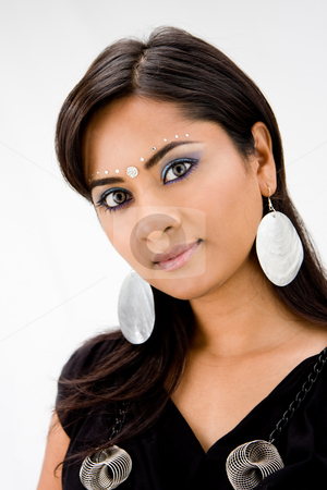 Beautiful Hindi woman stock photo, Beautiful woman with rhinestones and bindi, isolated by Paul Hakimata