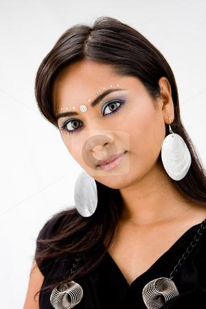 Beautiful Hindi woman stock photo, Beautiful woman with rhinestones and bindi, isolated by Paul Hakimata