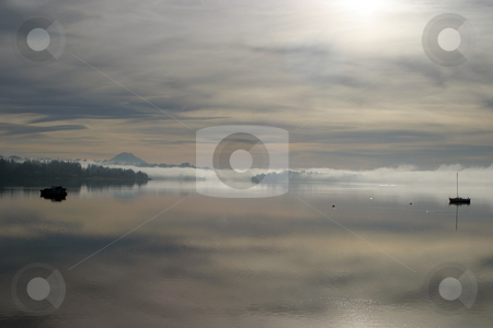 Morning fog  stock photo, December 22, 2003:  As the early morning fog in SIlverdale, Washington burned off Mt. Rainier could be seen overlooking Dyes Inlet. by Jesse Beals