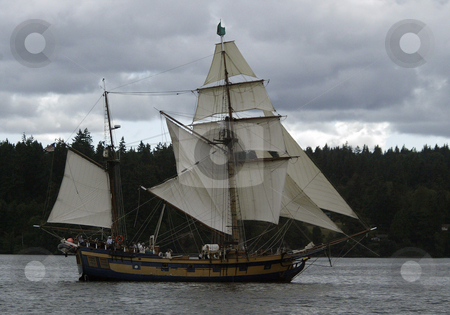 The Hawaiian Chieftain stock photo, 27, August 2008:  The Hawaiian Chieftain a tall ship battled the Lady Washington Wednesday during a canon battle sail in front of the Port of Brownsville in Brownsville, Washington.  For $50.00 you could ride on one of the two tall ships during the canon battle between the two boats. by Jesse Beals